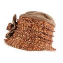 Toque chapeau laine femme orange marron Leana
