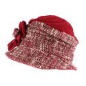 Toque chapeau laine femme rouge rose Leana