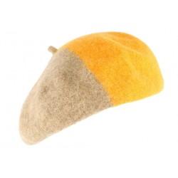 Beret Femme orange et marron tendance Mado