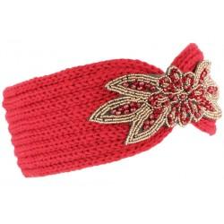 Bandeau laine femme rouge brodé perles dorées Helya Bandeau Léon montane