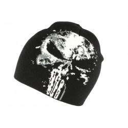 Bonnet tête de mort et et blanc biker en laine