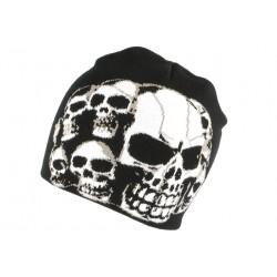 Bonnet noir tete de mort blanche look biker