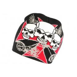 Bonnet tete de mort croix de Malte rouge noir BONNETS Nyls Création