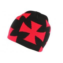 Bonnet croix de Malte rouge et noir Biker