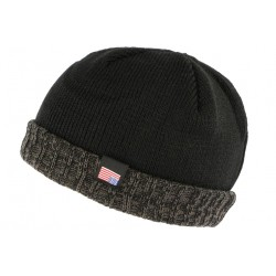 Bonnet docker noir et gris drapeau USA doublé polaire Gansk BONNETS Nyls Création