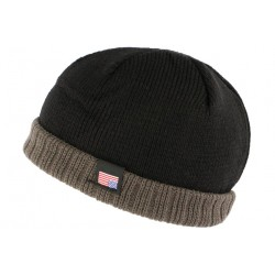 Bonnet docker noir et gris USA doublé polaire Wynsk BONNETS Nyls Création