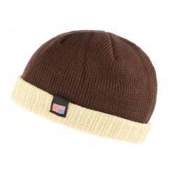 Bonnet docker marron et beige USA doublé polaire Wynsk