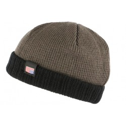 Bonnet docker gris et noir USA doublé polaire Wynsk