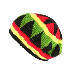 Bonnet Beret Rasta rouge jaune vert Bobley