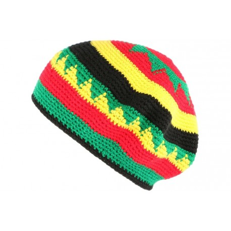 Bonnet Beret Rasta vert jaune rouge Bobmar BONNETS Nyls Création