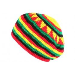 Beret Bonnet Rasta jaune vert rouge Leybob