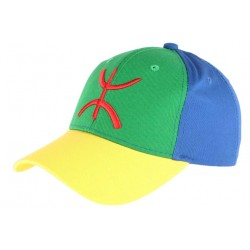 Casquette berbere drapeau bleu vert jaune amazigh