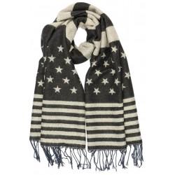 Echarpe drapeau americain Gris et Bleu Nyls Création