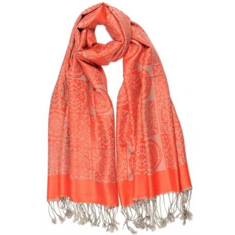 Grande Echarpe Pashmina Orange et Grise Jaipur Leon Montane Echarpe Léon montane