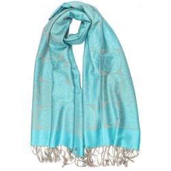 Grande Echarpe Pashmina Bleu Turquoise Jaipur Leon Montane