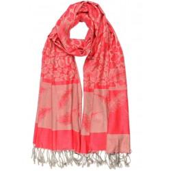 Echarpe Pashmina rouge et grise avec soie Patna Echarpe Léon montane