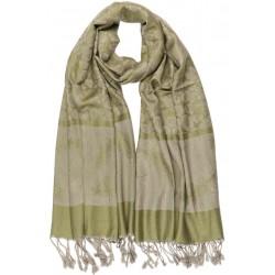 Echarpe Pashmina verte et grise avec soie Patna