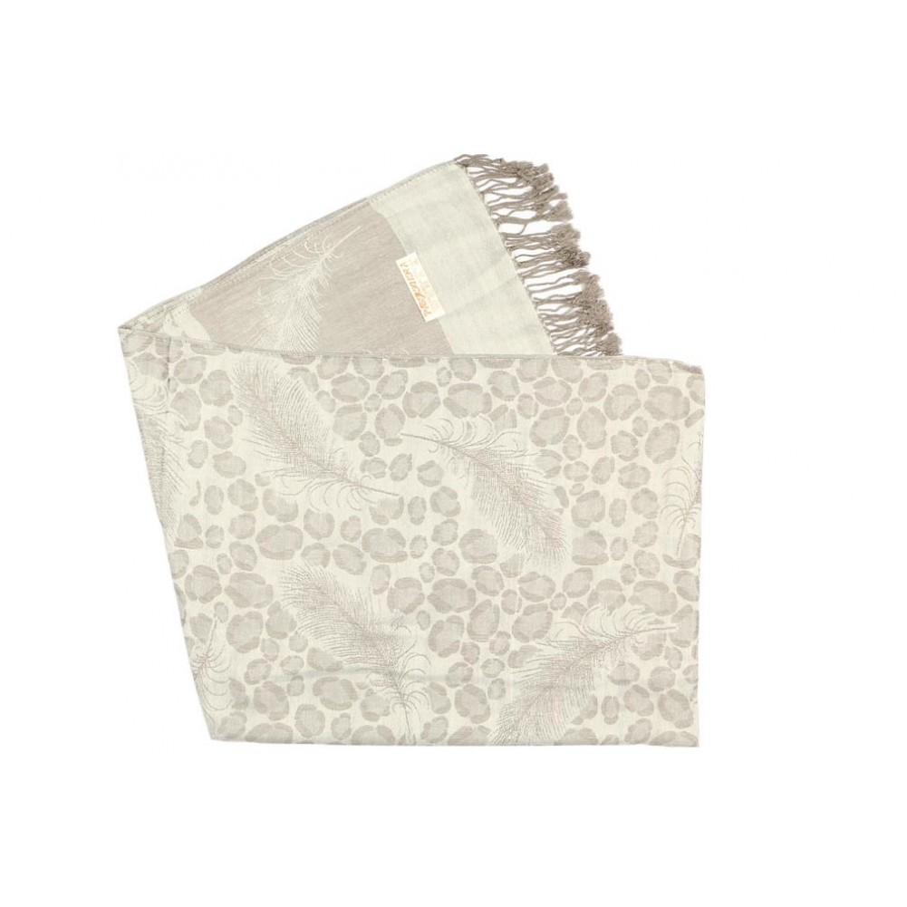 2c72764d1a7 ... Foulard Pashmina gris argent avec soie Patna