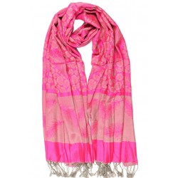 Foulard Pashmina rose framboise avec soie Patna