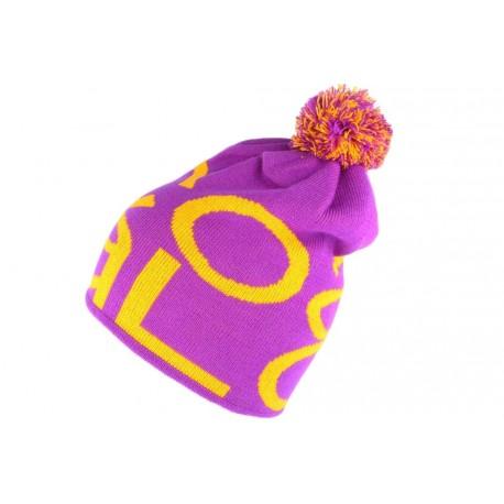 Bonnet Pompon Coal violet orange The Logo BONNETS COAL
