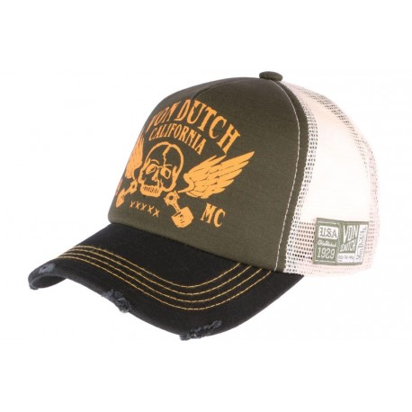 Casquette Von Dutch Verte et orange Crew California