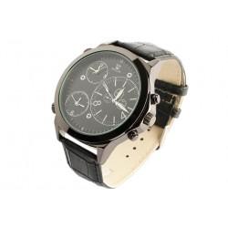 Grande montre noire triple fuseau horaire Altex Montre Bellos