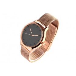 Montre femme doree strass noir bracelet milanais Mysia
