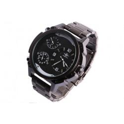 Grosse montre noire triple fuseau horaire Fyrkex Michael John Montre Michael John