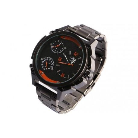 Grosse montre noire orange triple fuseau horaire Fyrkex Michael John Montre Michael John