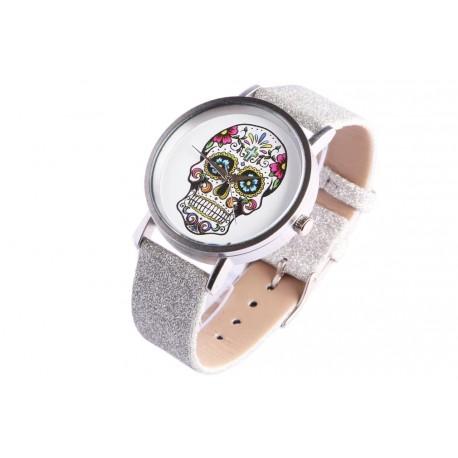 Montre bracelet paillettes argent tete de mort fashion Michael John