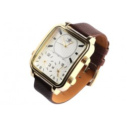 Grosse montre rectangle chronographe marron bracelet cuir Kyltex Michael John
