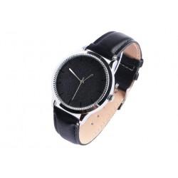 Montre femme strass noir bracelet cuir noir Staly