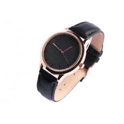 Montre femme doree strass noir bracelet cuir Staly Montre Michael John