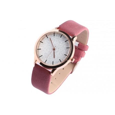 Montre femme strass argent bracelet cuir rose Staly