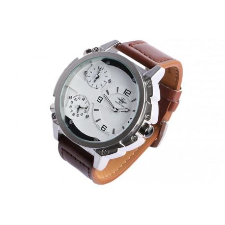 Grosse montre homme bracelet cuir marron triple fuseaux Konox