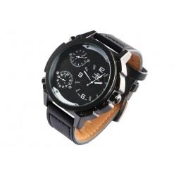 Grosse montre homme bracelet cuir noir triple fuseaux Konox Montre Michael John