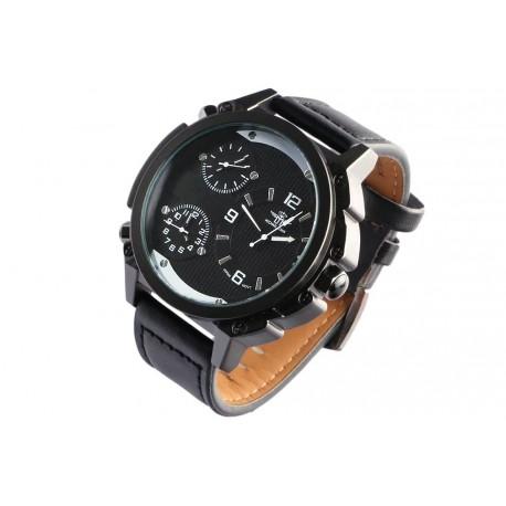 Grosse montre homme bracelet cuir noir triple fuseaux Konox