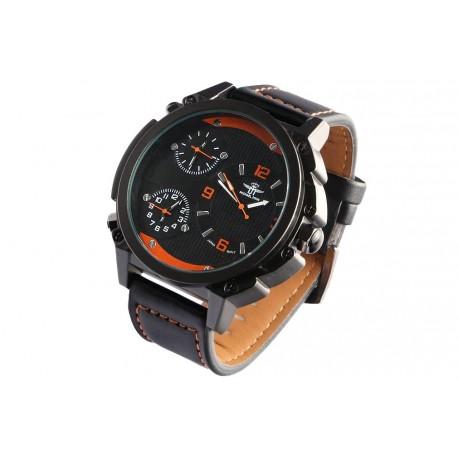 Grosse montre homme orange et noire bracelet cuir triple fuseaux Konox