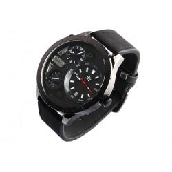 Grosse montre homme bracelet cuir noir double fuseaux Forkex Montre Michael John