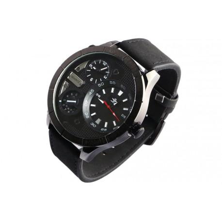 Grosse montre homme bracelet cuir noir double fuseaux Forkex