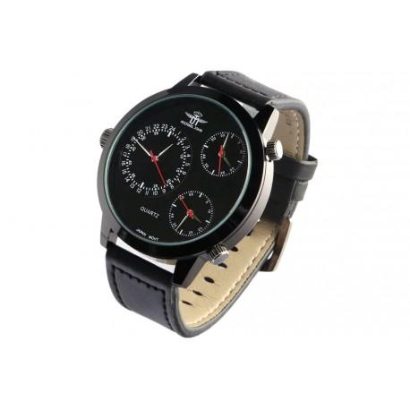 Grande montre homme bracelet cuir noir triple fuseaux Kertex