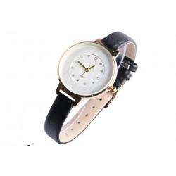 Fine montre femme doree strass bracelet noir classe Prestya Montre Michael John