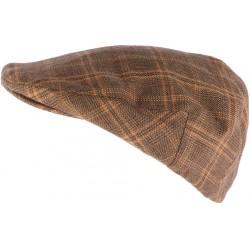 Casquette anglaise marron à carreaux en laine Walky