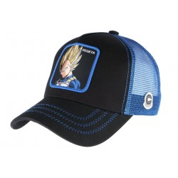 Casquette filet Vegeta Dragon Ball Z Collabs bleue et noire CASQUETTES COLLABS