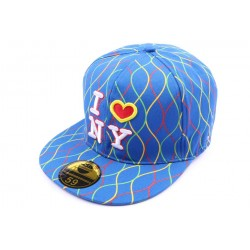 Casquette NY fitted Bleue avec rayures CASQUETTES Hip Hop Honour