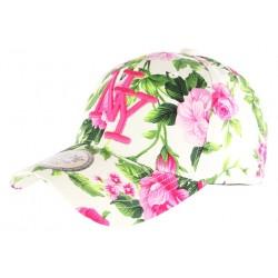 Casquette NY beige et rose à fleurs fashion Bora CASQUETTES Hip Hop Honour