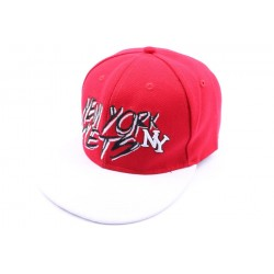 Casquette fitted rouge et visière blanche