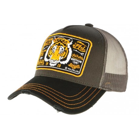 Casquette Von Dutch Grise Tiger Edition Tête de Tigre Trucker
