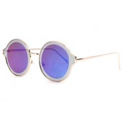Lunettes soleil miroir bleues rondes fashion dorees Gaxy LUNETTES SOLEIL Eye Wear