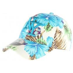 Casquette enfant NY bleu et beige à fleurs 7 à 12 ans Casquette Enfant Hip Hop Honour